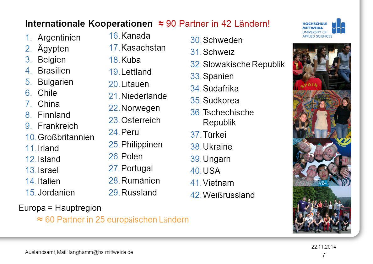 Auslandsamt, Mail: langhamm@hs-mittweida.de Internationale Kooperationen ≈ 90 Partner in 42 Ländern! Europa = Hauptregion ≈ 60 Partner in 25 europ ä i