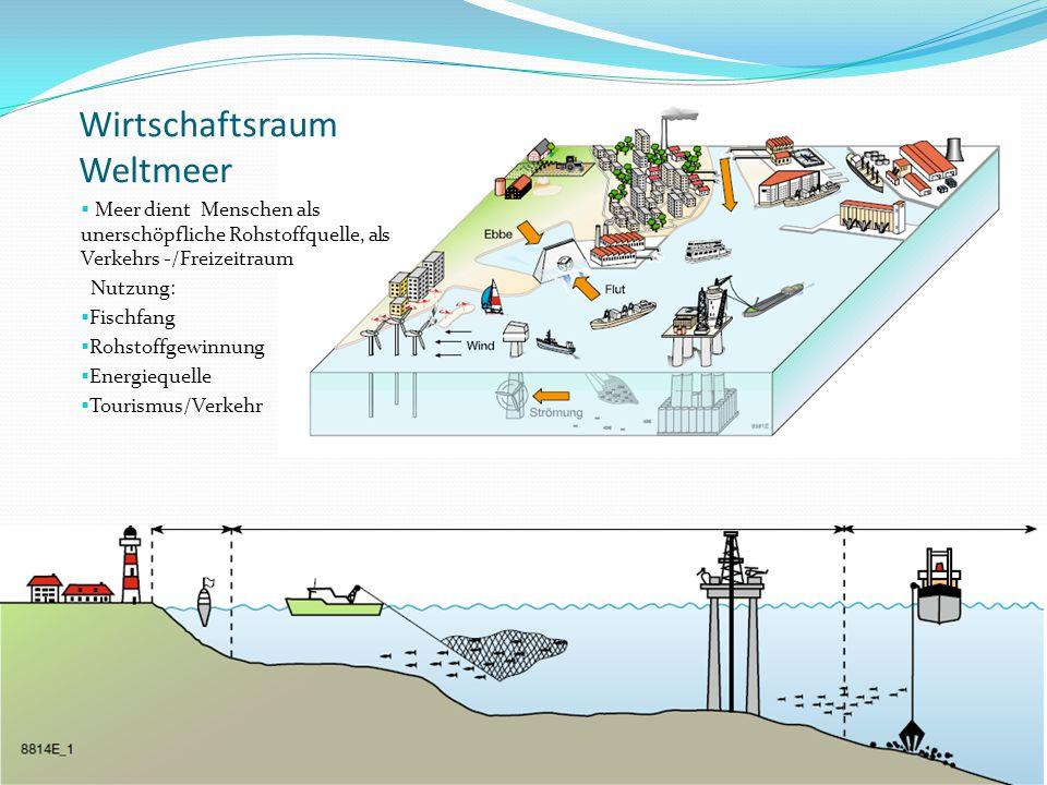 Wirtschaftsraum Weltmeer  Meer dient Menschen als unerschöpfliche Rohstoffquelle, als Verkehrs -/Freizeitraum Nutzung:  Fischfang  Rohstoffgewinnun