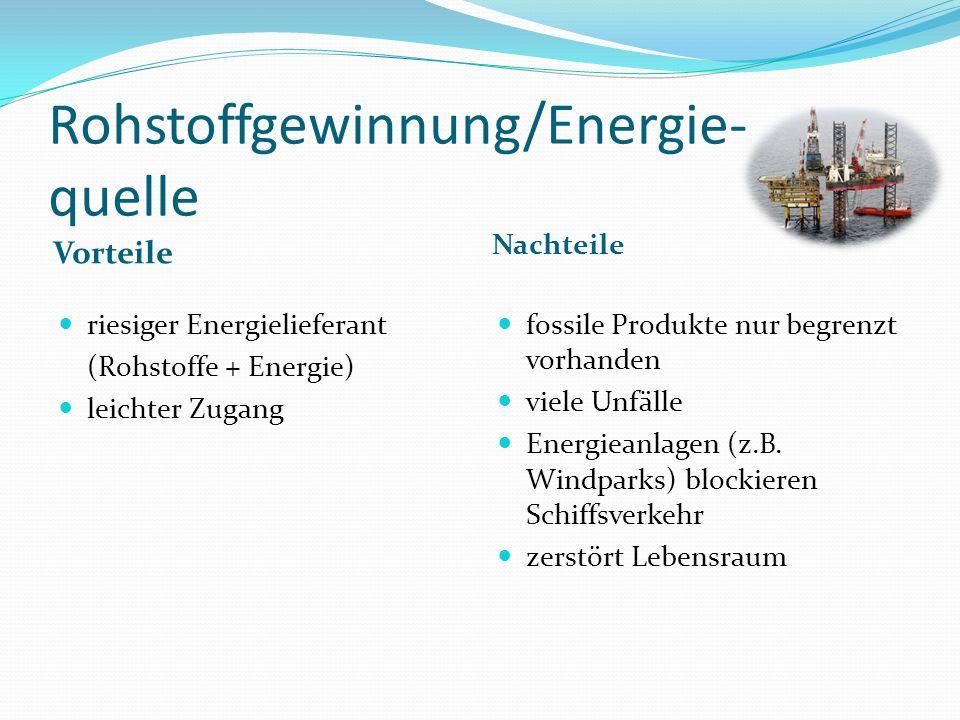 Rohstoffgewinnung/Energie- quelle Vorteile Nachteile riesiger Energielieferant (Rohstoffe + Energie) leichter Zugang fossile Produkte nur begrenzt vorhanden viele Unfälle Energieanlagen (z.B.