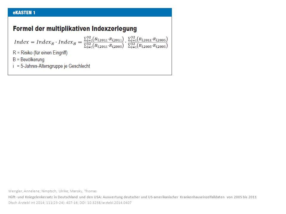 Wengler, Annelene; Nimptsch, Ulrike; Mansky, Thomas Hüft- und Kniegelenkersatz in Deutschland und den USA: Auswertung deutscher und US-amerikanischer