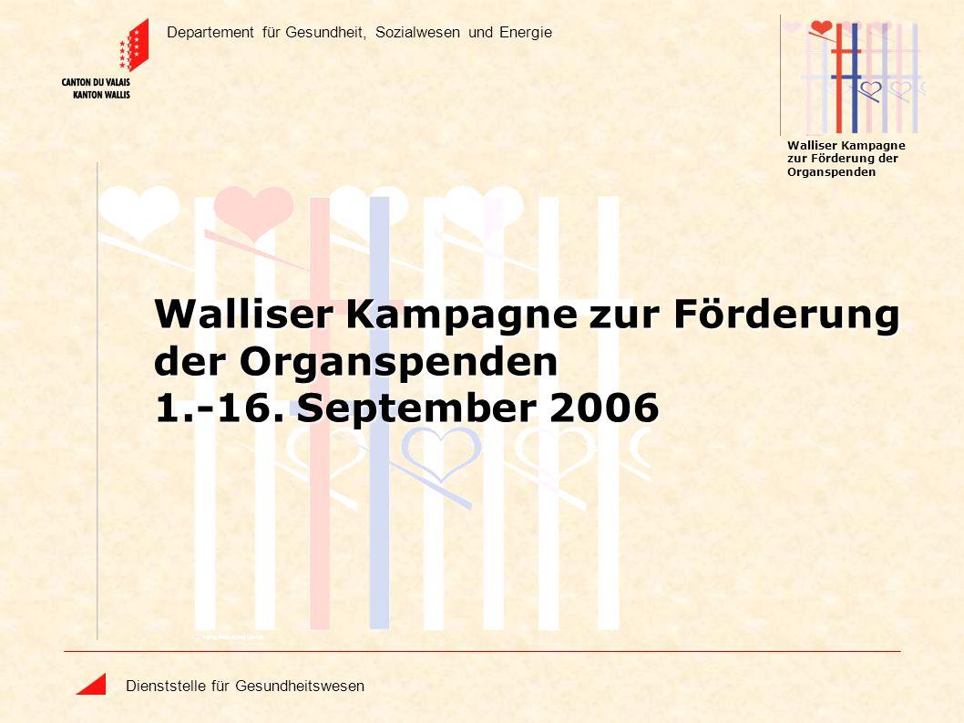 Departement für Gesundheit, Sozialwesen und Energie Dienststelle für Gesundheitswesen Walliser Kampagne zur Förderung der Organspenden Walliser Kampag
