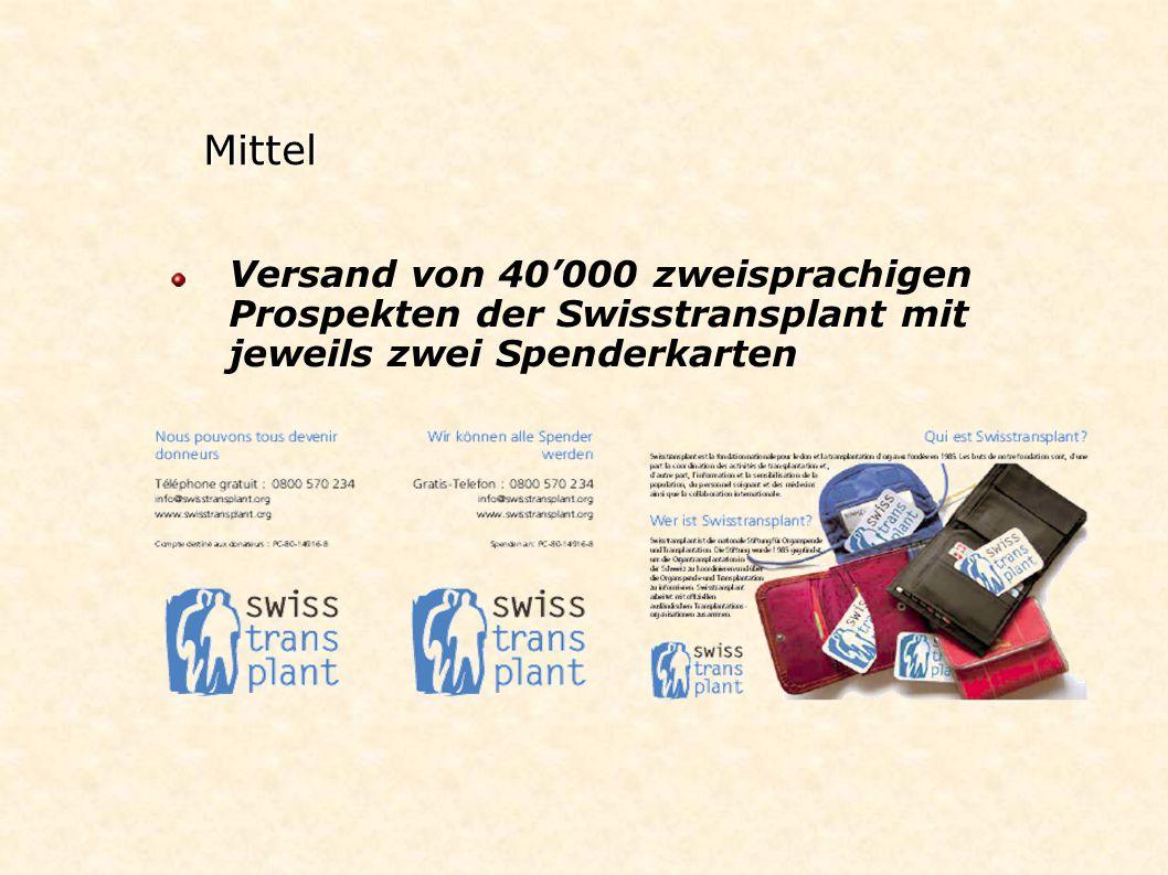 Mittel Versand von 40'000 zweisprachigen Prospekten der Swisstransplant mit jeweils zwei Spenderkarten