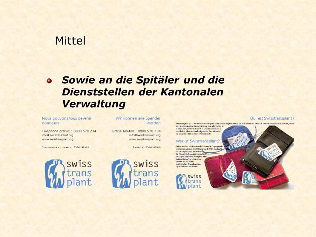 Mittel Sowie an die Spitäler und die Dienststellen der Kantonalen Verwaltung