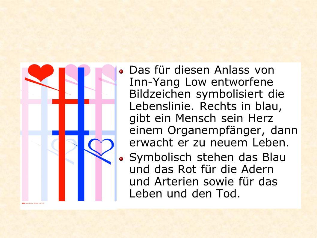 Das für diesen Anlass von Inn-Yang Low entworfene Bildzeichen symbolisiert die Lebenslinie. Rechts in blau, gibt ein Mensch sein Herz einem Organempfä