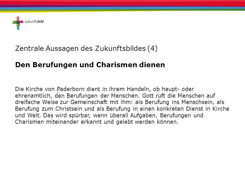 Zentrale Aussagen des Zukunftsbildes (4) Den Berufungen und Charismen dienen Die Kirche von Paderborn dient in ihrem Handeln, ob haupt- oder ehrenamtl