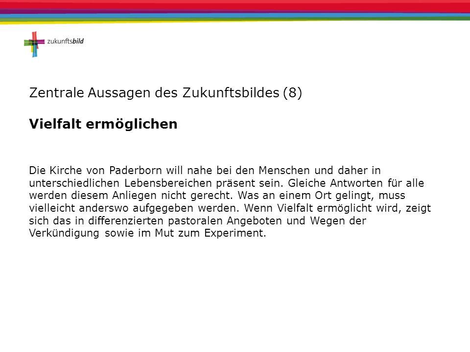 Zentrale Aussagen des Zukunftsbildes (8) Vielfalt ermöglichen Die Kirche von Paderborn will nahe bei den Menschen und daher in unterschiedlichen Leben