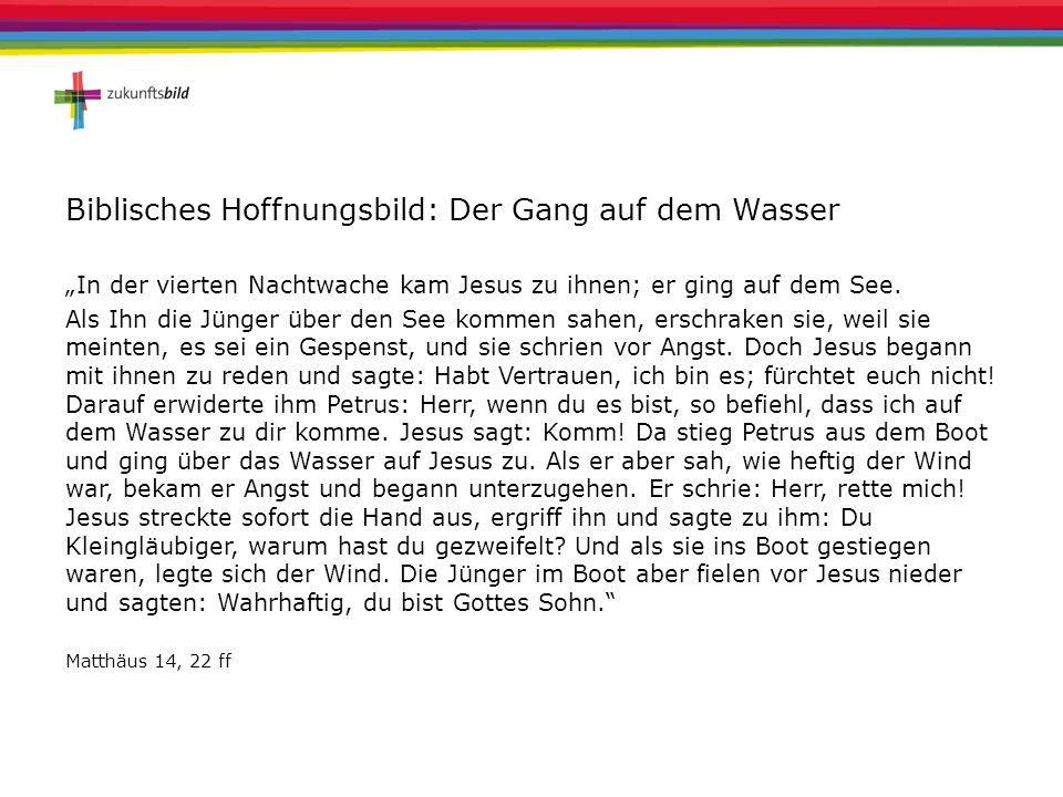"""Biblisches Hoffnungsbild: Der Gang auf dem Wasser """"In der vierten Nachtwache kam Jesus zu ihnen; er ging auf dem See. Als Ihn die Jünger über den See"""