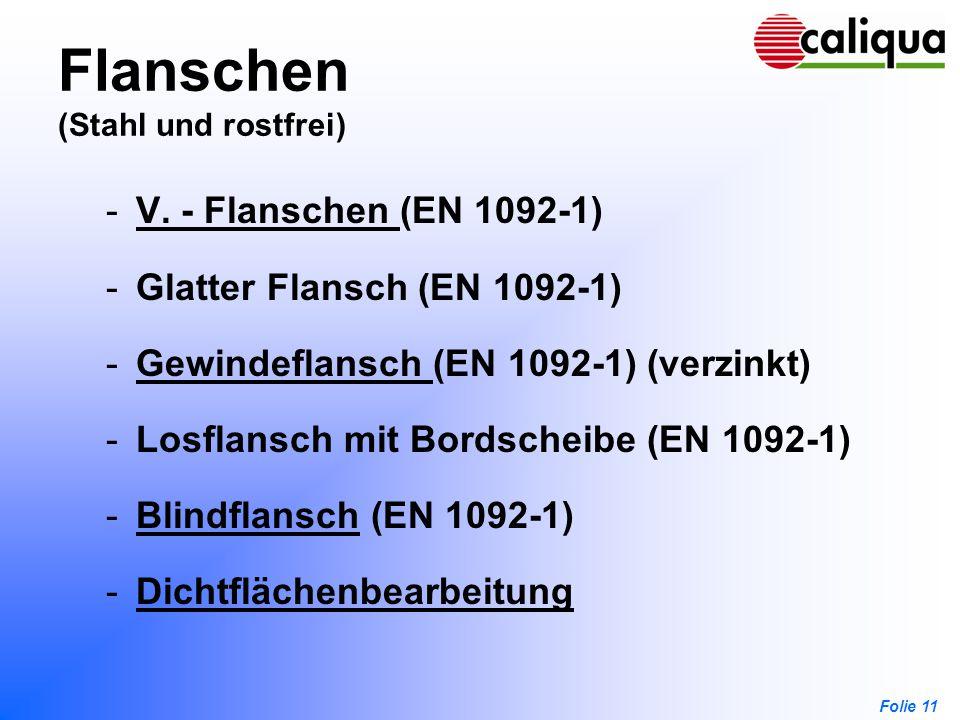 Folie 11 Flanschen (Stahl und rostfrei) -V. - Flanschen (EN 1092-1)V. - Flanschen -Glatter Flansch (EN 1092-1) -Gewindeflansch (EN 1092-1) (verzinkt)G
