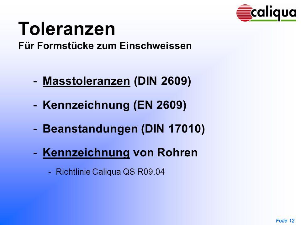 Folie 12 Toleranzen Für Formstücke zum Einschweissen -Masstoleranzen (DIN 2609)Masstoleranzen -Kennzeichnung (EN 2609) -Beanstandungen (DIN 17010) -Ke