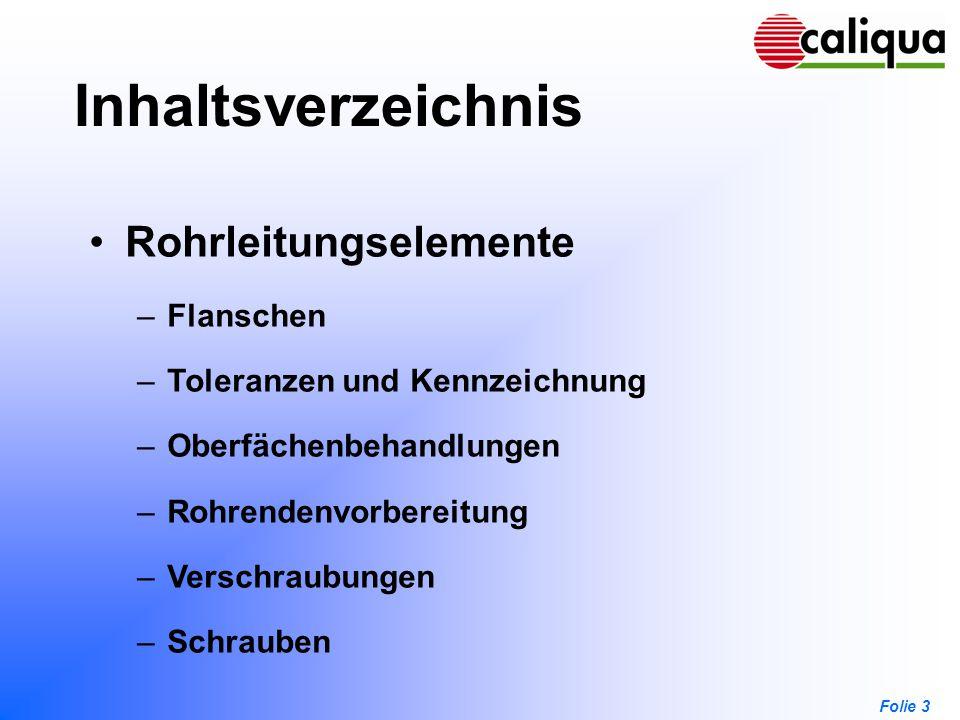 Folie 3 Inhaltsverzeichnis Rohrleitungselemente –Flanschen –Toleranzen und Kennzeichnung –Oberfächenbehandlungen –Rohrendenvorbereitung –Verschraubung