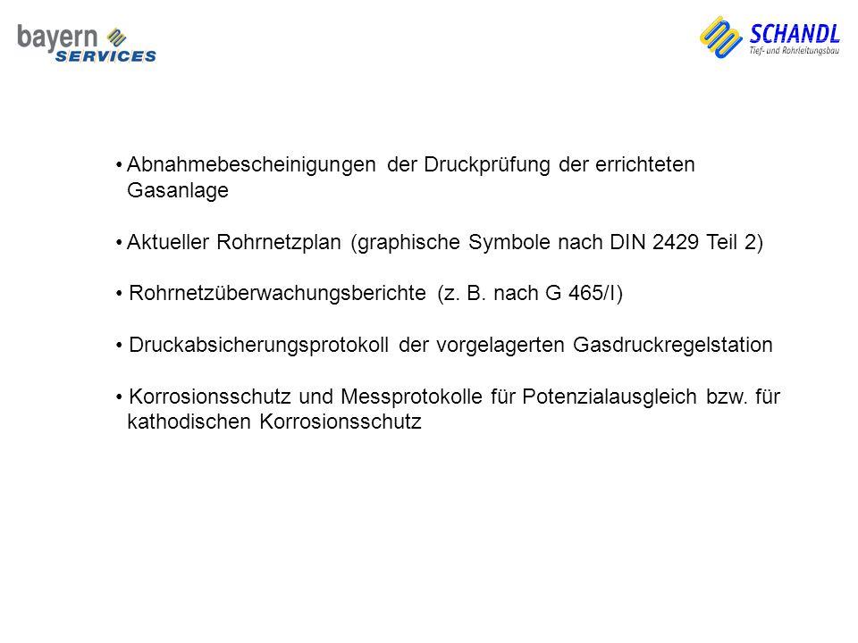 Abnahmebescheinigungen der Druckprüfung der errichteten Gasanlage Aktueller Rohrnetzplan (graphische Symbole nach DIN 2429 Teil 2) Rohrnetzüberwachung