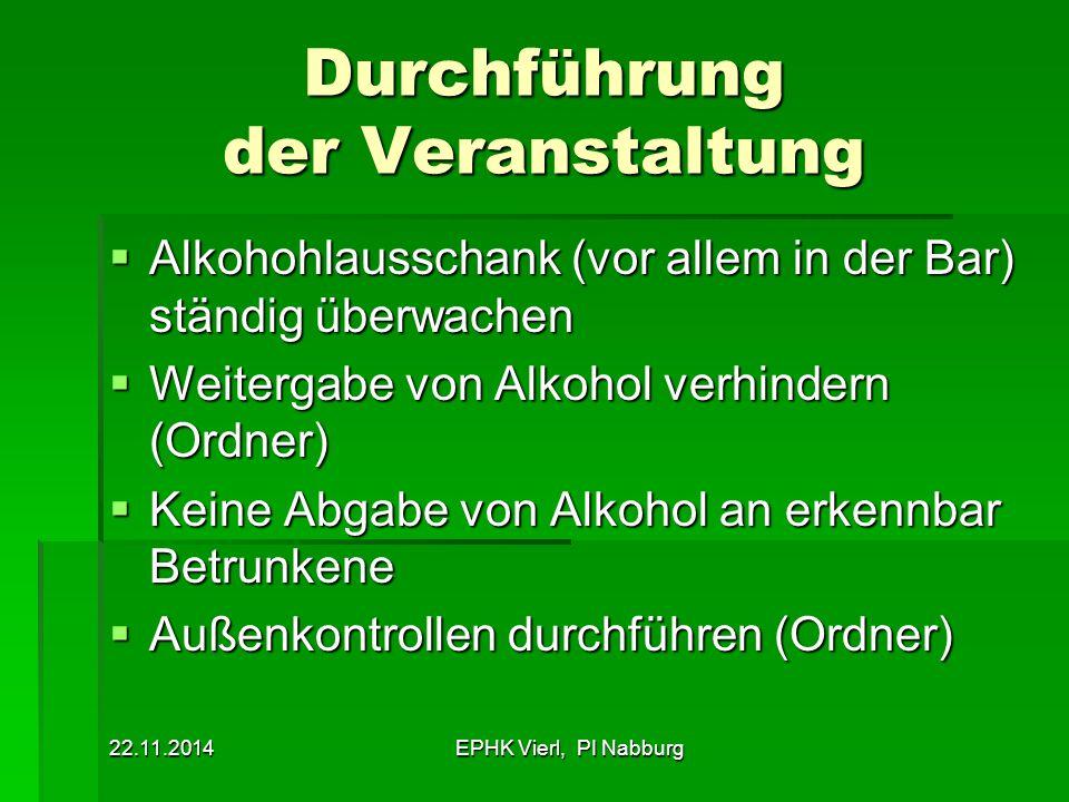 22.11.2014EPHK Vierl, PI Nabburg Durchführung der Veranstaltung  Alkohohlausschank (vor allem in der Bar) ständig überwachen  Weitergabe von Alkohol