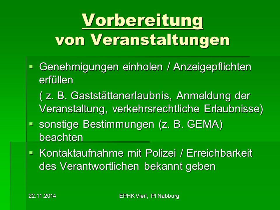 22.11.2014EPHK Vierl, PI Nabburg Vorbereitung von Veranstaltungen  Genehmigungen einholen / Anzeigepflichten erfüllen ( z. B. Gaststättenerlaubnis, A