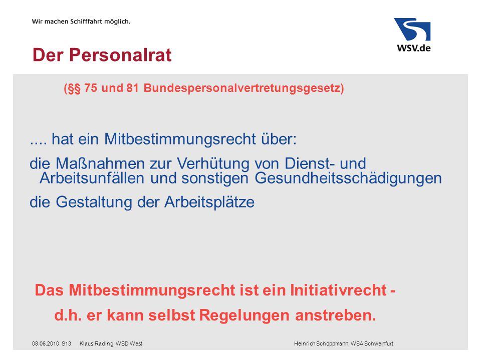 Klaus Rading, WSD West Heinrich Schoppmann, WSA Schweinfurt08.06.2010S13 Der Personalrat (§§ 75 und 81 Bundespersonalvertretungsgesetz)....