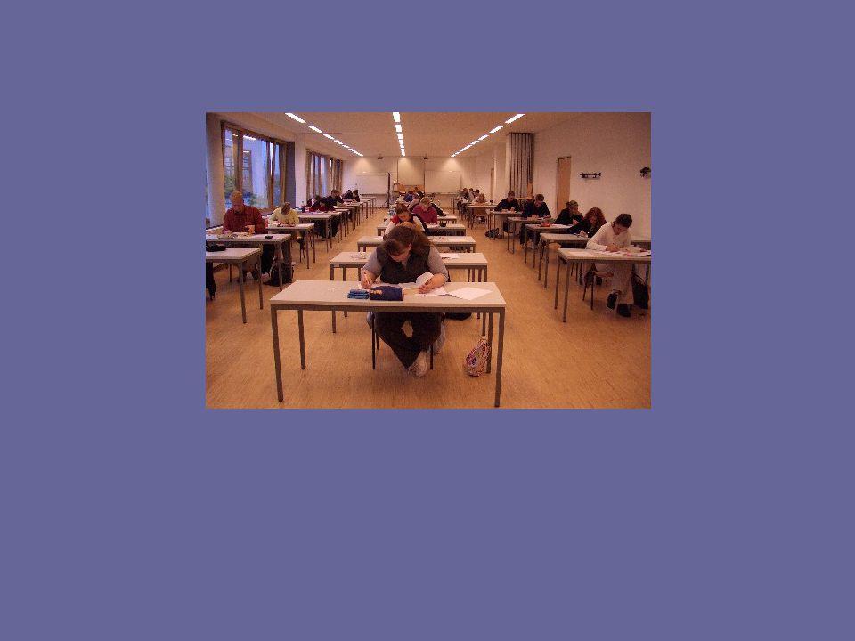 Der Prüfungsverlauf in Englisch: Der Prüfer regt durch mitgebrachte Materialien ein Gespräch mit den Prüflingen an.