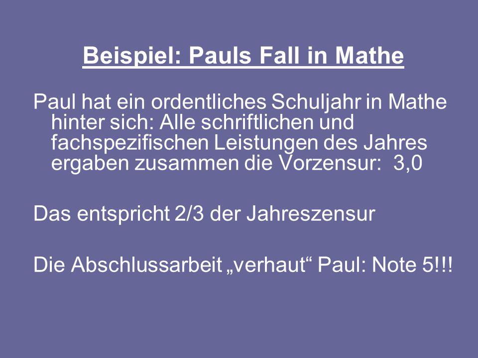 Beispiel: Pauls Fall in Mathe Paul hat ein ordentliches Schuljahr in Mathe hinter sich: Alle schriftlichen und fachspezifischen Leistungen des Jahres
