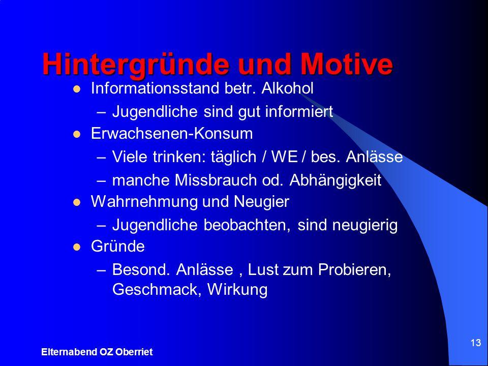 Elternabend OZ Oberriet 13 Informationsstand betr. Alkohol –Jugendliche sind gut informiert Erwachsenen-Konsum –Viele trinken: täglich / WE / bes. Anl