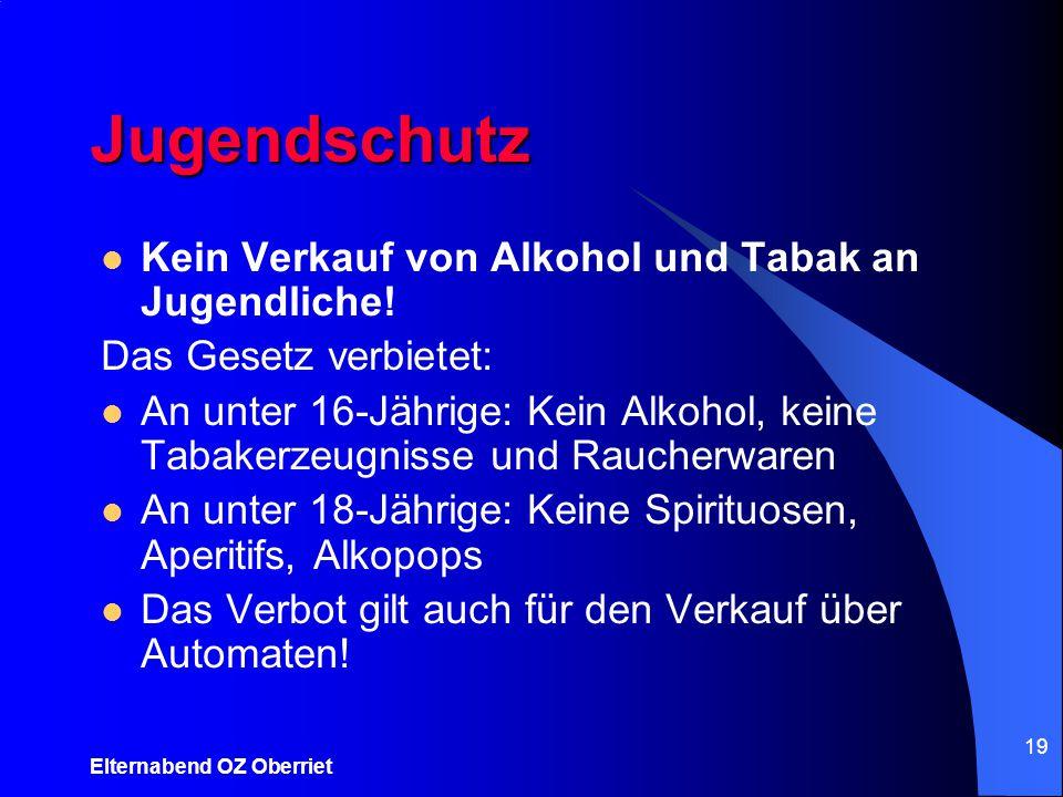 Elternabend OZ Oberriet 19 Jugendschutz Kein Verkauf von Alkohol und Tabak an Jugendliche! Das Gesetz verbietet: An unter 16-Jährige: Kein Alkohol, ke