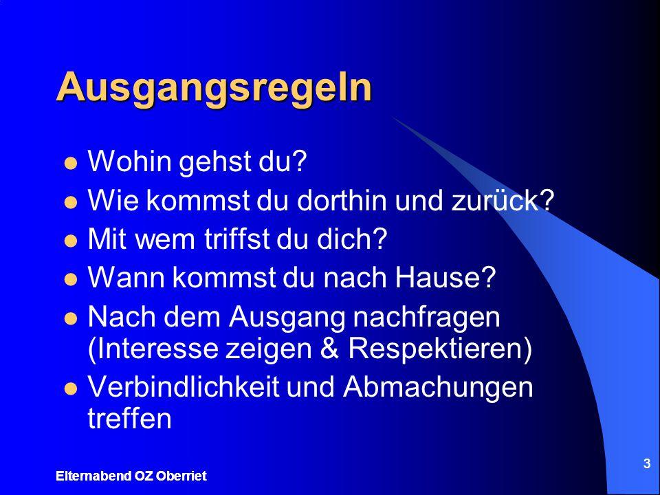 Elternabend OZ Oberriet 3 Ausgangsregeln Wohin gehst du? Wie kommst du dorthin und zurück? Mit wem triffst du dich? Wann kommst du nach Hause? Nach de