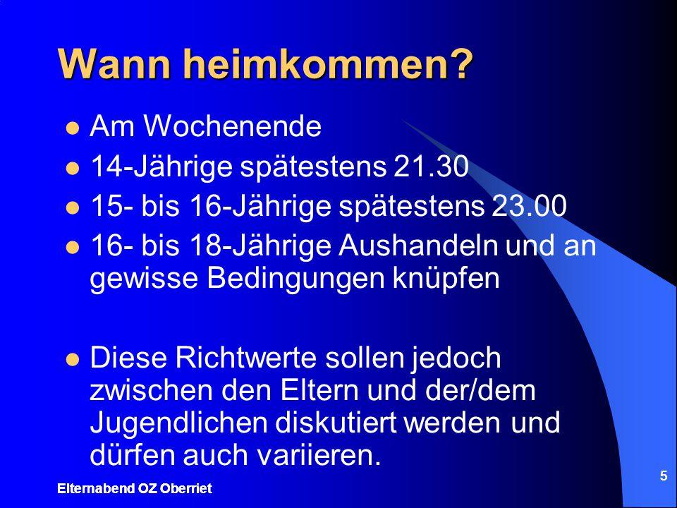 5 Wann heimkommen? Am Wochenende 14-Jährige spätestens 21.30 15- bis 16-Jährige spätestens 23.00 16- bis 18-Jährige Aushandeln und an gewisse Bedingun