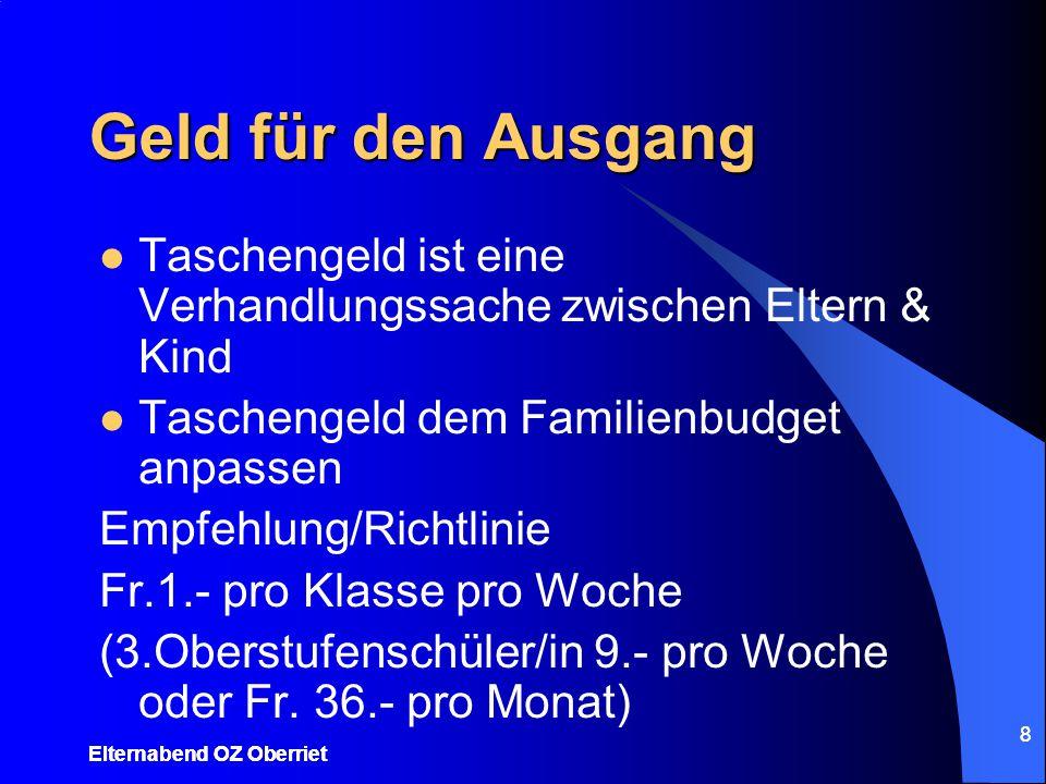 8 Geld für den Ausgang Taschengeld ist eine Verhandlungssache zwischen Eltern & Kind Taschengeld dem Familienbudget anpassen Empfehlung/Richtlinie Fr.