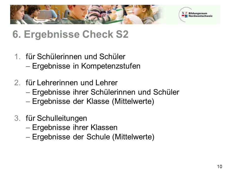 6. Ergebnisse Check S2 10 1.für Schülerinnen und Schüler  Ergebnisse in Kompetenzstufen 2.für Lehrerinnen und Lehrer  Ergebnisse ihrer Schülerinnen