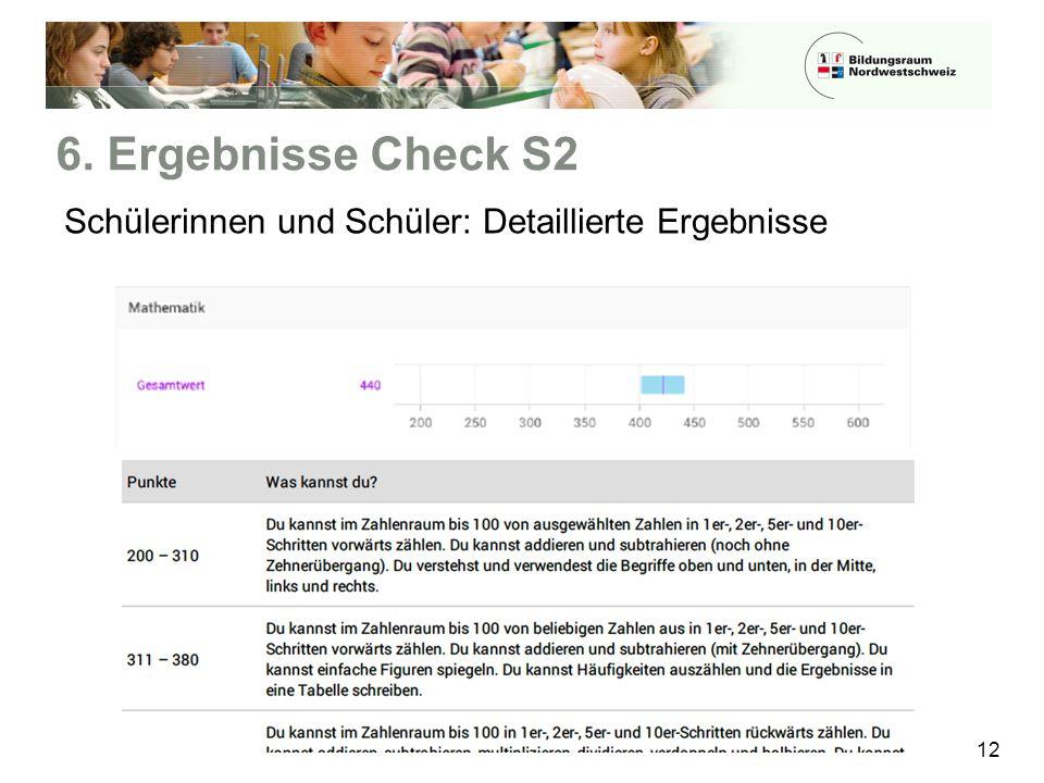 6. Ergebnisse Check S2 12 Schülerinnen und Schüler: Detaillierte Ergebnisse
