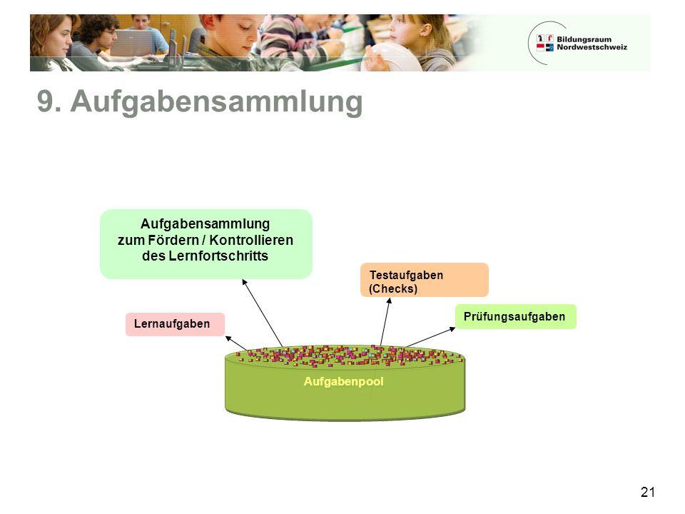 9. Aufgabensammlung 21 Testaufgaben (Checks) Prüfungsaufgaben Lernaufgaben Aufgabensammlung zum Fördern / Kontrollieren des Lernfortschritts Aufgabenp