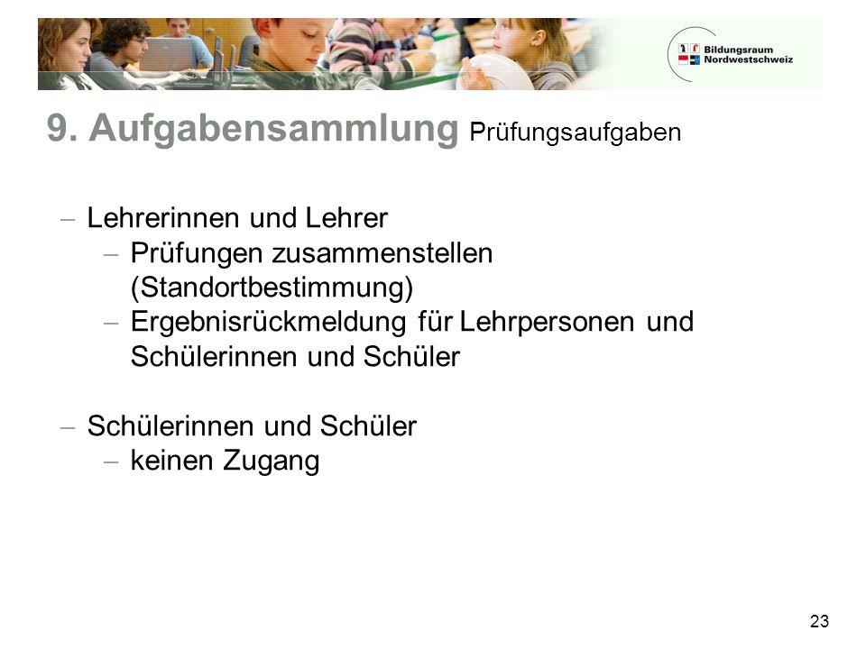 9. Aufgabensammlung Prüfungsaufgaben 23  Lehrerinnen und Lehrer  Prüfungen zusammenstellen (Standortbestimmung)  Ergebnisrückmeldung für Lehrperson