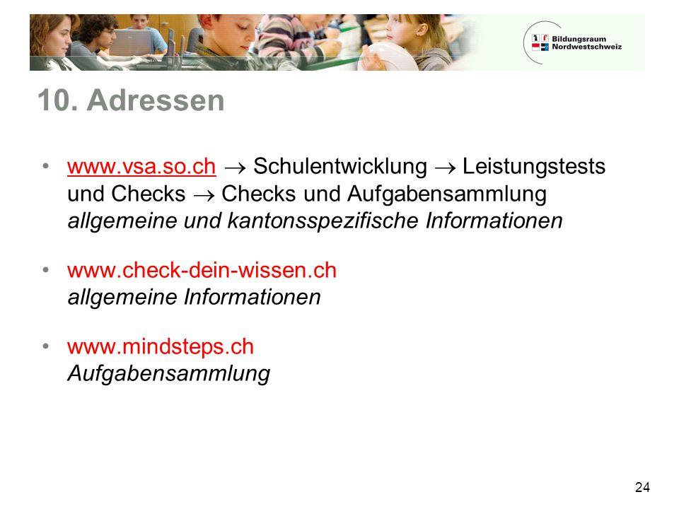 10. Adressen 24 www.vsa.so.ch  Schulentwicklung  Leistungstests und Checks  Checks und Aufgabensammlung allgemeine und kantonsspezifische Informati
