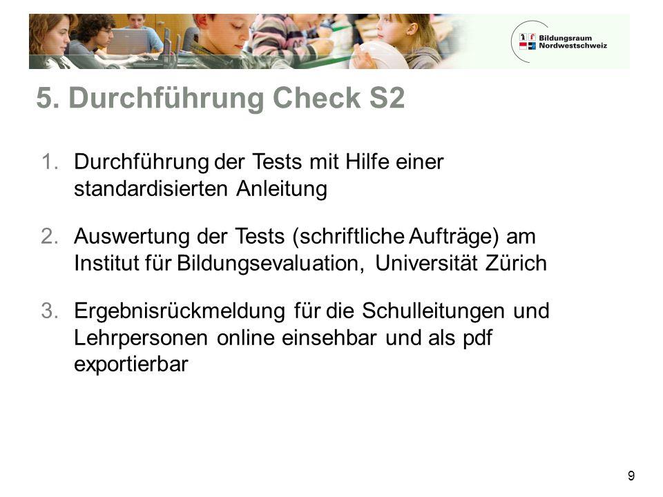 5. Durchführung Check S2 9 1.Durchführung der Tests mit Hilfe einer standardisierten Anleitung 2.Auswertung der Tests (schriftliche Aufträge) am Insti