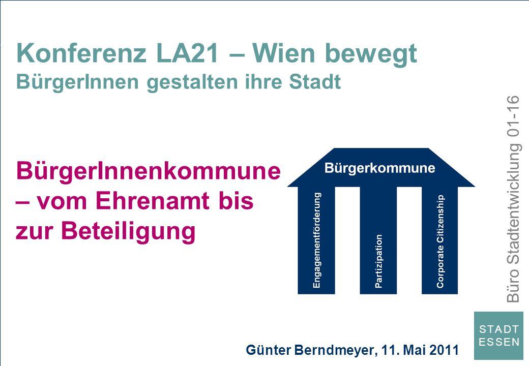 Büro Stadtentwicklung 01-16 S T A D TE S S E NS T A D TE S S E N Konferenz LA21 – Wien bewegt BürgerInnen gestalten ihre Stadt BürgerInnenkommune – vo