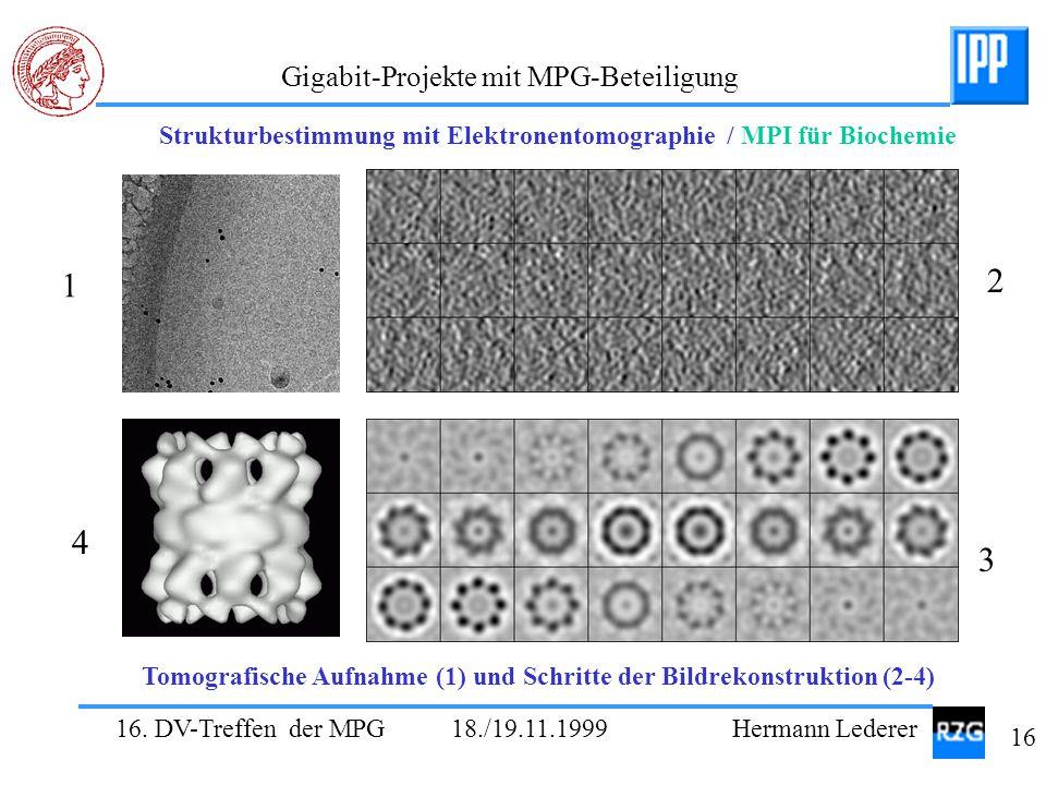 16. DV-Treffen der MPG 18./19.11.1999 Hermann Lederer 16 Gigabit-Projekte mit MPG-Beteiligung 1 2 3 4 Strukturbestimmung mit Elektronentomographie / M