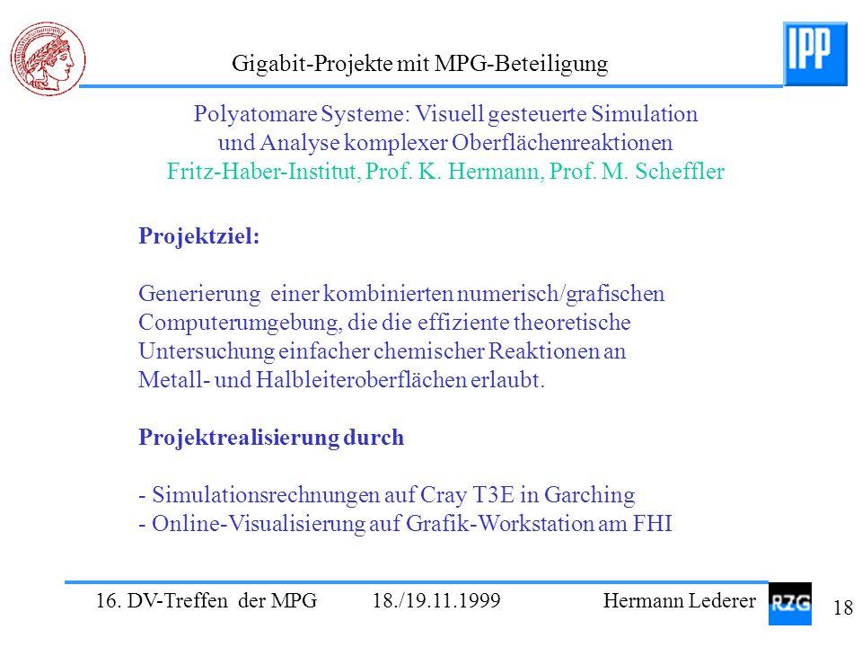 16. DV-Treffen der MPG 18./19.11.1999 Hermann Lederer 18 Gigabit-Projekte mit MPG-Beteiligung Projektziel: Generierung einer kombinierten numerisch/gr