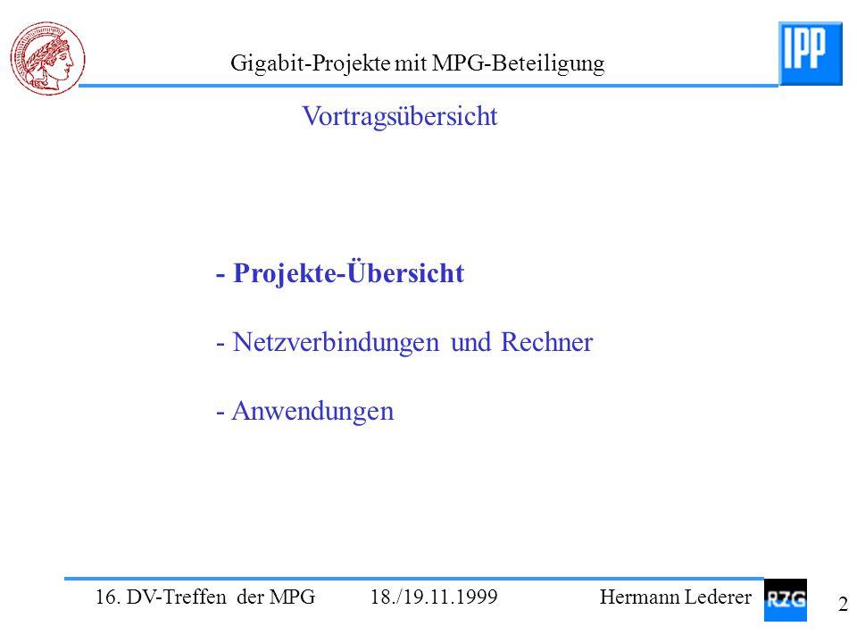 16. DV-Treffen der MPG 18./19.11.1999 Hermann Lederer 2 Gigabit-Projekte mit MPG-Beteiligung - Projekte-Übersicht - Netzverbindungen und Rechner - Anw
