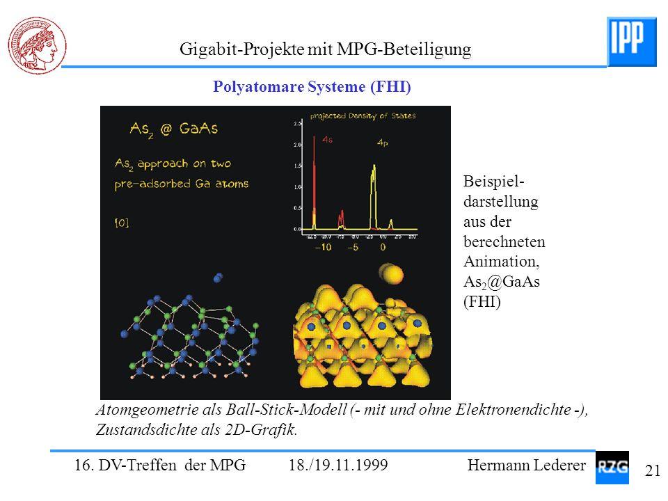 16. DV-Treffen der MPG 18./19.11.1999 Hermann Lederer 21 Gigabit-Projekte mit MPG-Beteiligung Polyatomare Systeme (FHI) Atomgeometrie als Ball-Stick-M