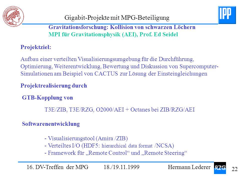 16. DV-Treffen der MPG 18./19.11.1999 Hermann Lederer 22 Gigabit-Projekte mit MPG-Beteiligung Projektziel: Aufbau einer verteilten Visualisierungsumge
