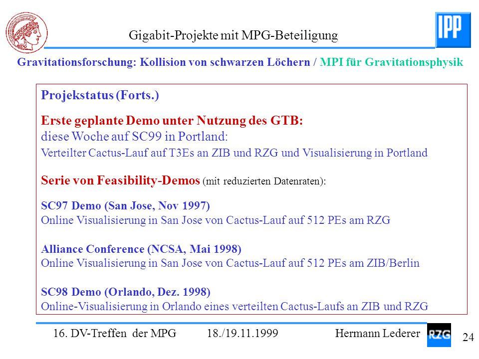16. DV-Treffen der MPG 18./19.11.1999 Hermann Lederer 24 Gigabit-Projekte mit MPG-Beteiligung Gravitationsforschung: Kollision von schwarzen Löchern /