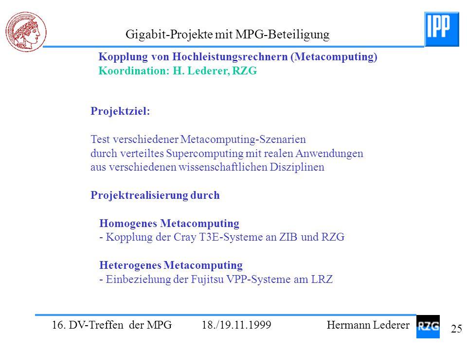 16. DV-Treffen der MPG 18./19.11.1999 Hermann Lederer 25 Gigabit-Projekte mit MPG-Beteiligung Projektziel: Test verschiedener Metacomputing-Szenarien