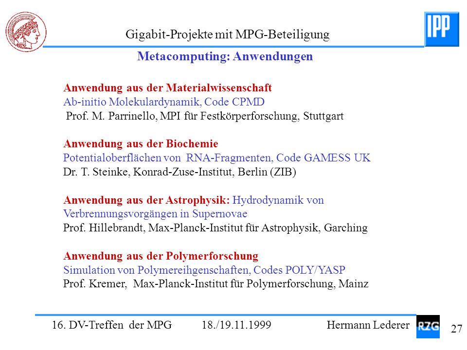 16. DV-Treffen der MPG 18./19.11.1999 Hermann Lederer 27 Gigabit-Projekte mit MPG-Beteiligung Anwendung aus der Materialwissenschaft Ab-initio Molekul