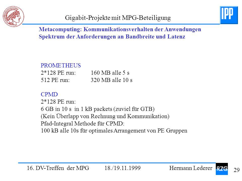 16. DV-Treffen der MPG 18./19.11.1999 Hermann Lederer 29 Gigabit-Projekte mit MPG-Beteiligung PROMETHEUS 2*128 PE run: 160 MB alle 5 s 512 PE run: 320