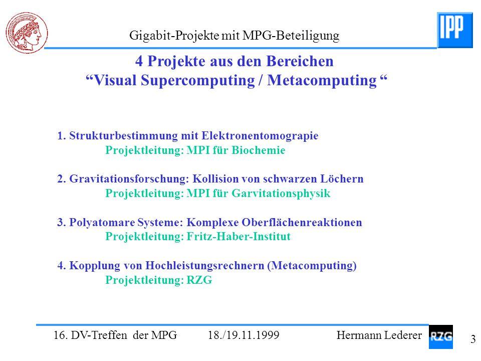 """16. DV-Treffen der MPG 18./19.11.1999 Hermann Lederer 3 Gigabit-Projekte mit MPG-Beteiligung 4 Projekte aus den Bereichen """"Visual Supercomputing / Met"""