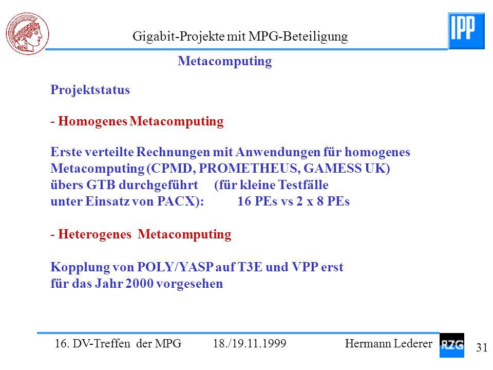 16. DV-Treffen der MPG 18./19.11.1999 Hermann Lederer 31 Gigabit-Projekte mit MPG-Beteiligung Projektstatus - Homogenes Metacomputing Erste verteilte