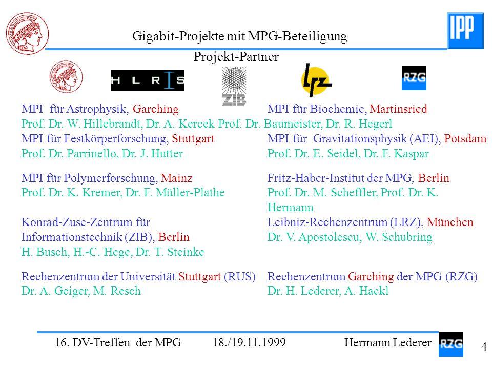 16. DV-Treffen der MPG 18./19.11.1999 Hermann Lederer 4 Gigabit-Projekte mit MPG-Beteiligung MPI für Astrophysik, GarchingMPI für Biochemie, Martinsri