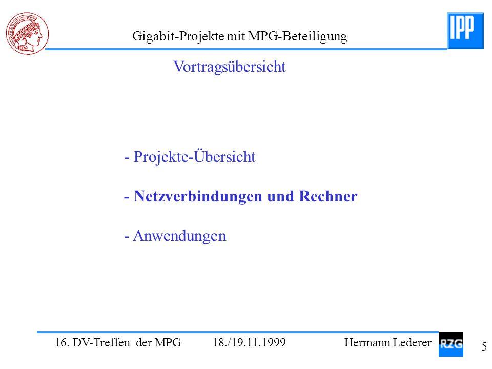 16. DV-Treffen der MPG 18./19.11.1999 Hermann Lederer 5 Gigabit-Projekte mit MPG-Beteiligung - Projekte-Übersicht - Netzverbindungen und Rechner - Anw