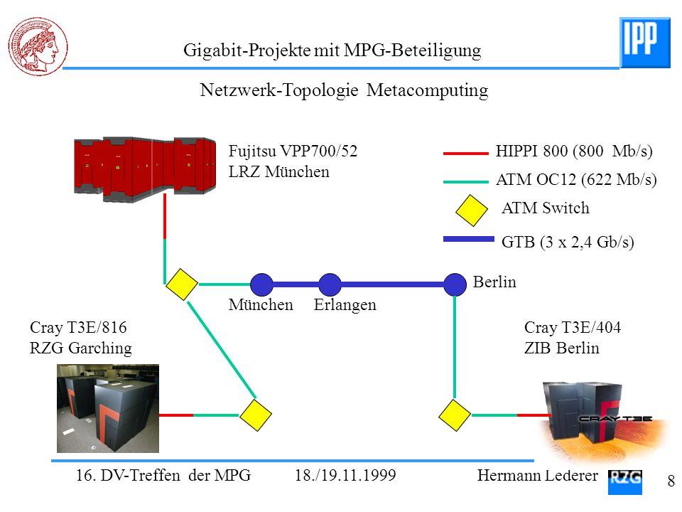 16. DV-Treffen der MPG 18./19.11.1999 Hermann Lederer 8 Gigabit-Projekte mit MPG-Beteiligung Fujitsu VPP700/52 LRZ München Cray T3E/816 RZG Garching C