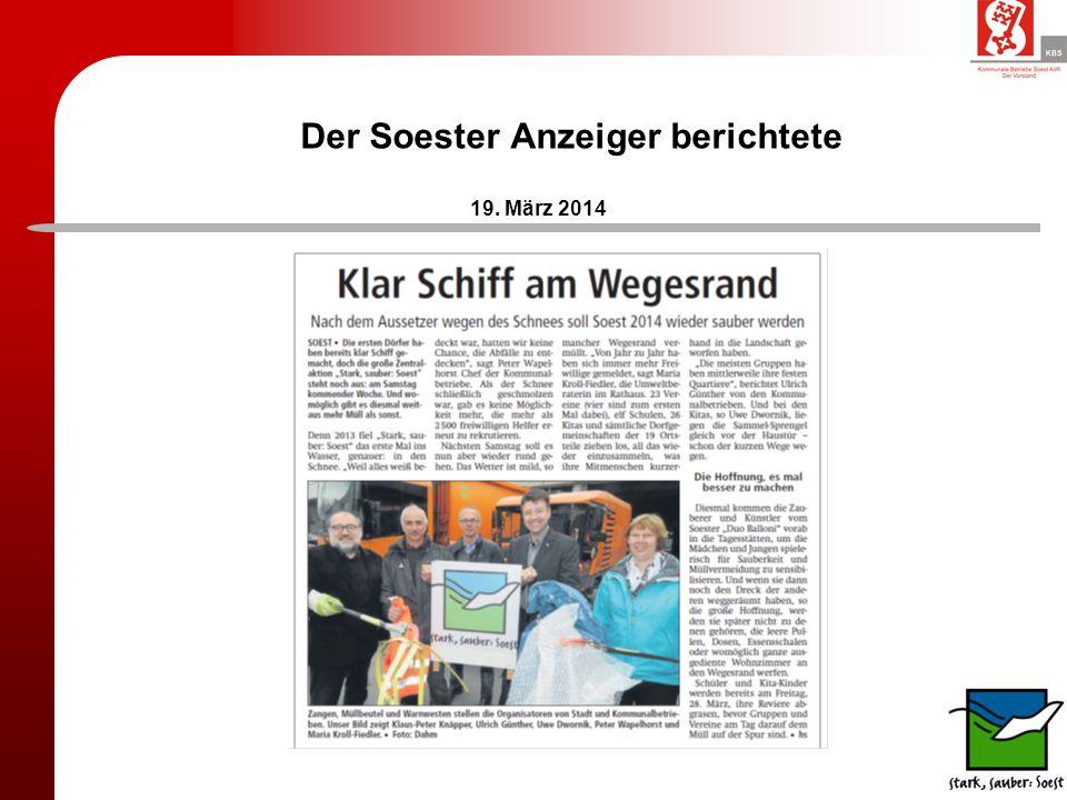 Der Soester Anzeiger berichtete 19. März 2014