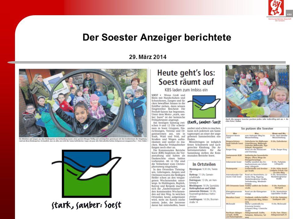Der Soester Anzeiger berichtete 29. März 2014