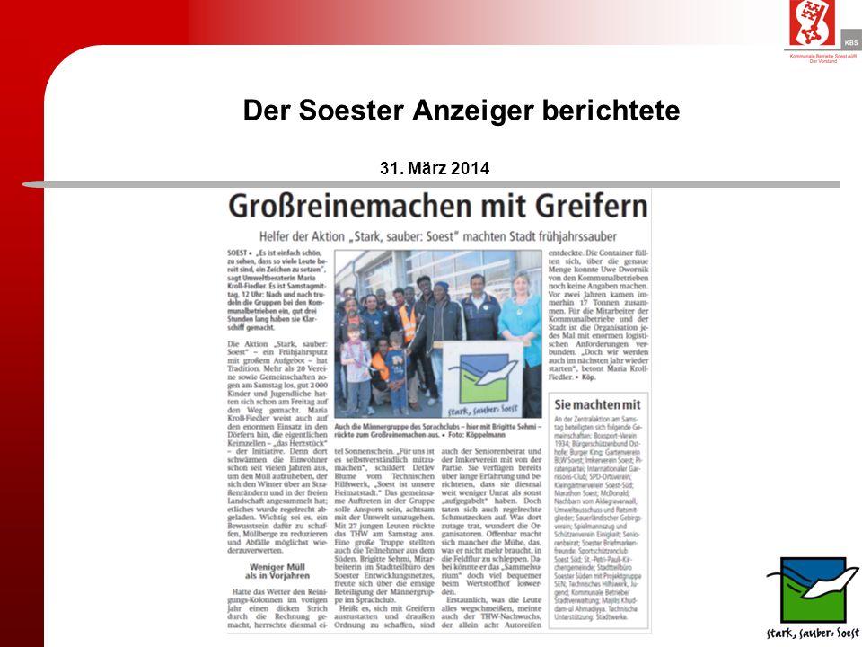 Der Soester Anzeiger berichtete 31. März 2014