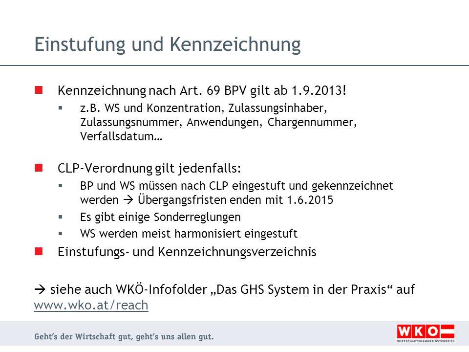 Einstufung und Kennzeichnung Kennzeichnung nach Art. 69 BPV gilt ab 1.9.2013!  z.B. WS und Konzentration, Zulassungsinhaber, Zulassungsnummer, Anwend